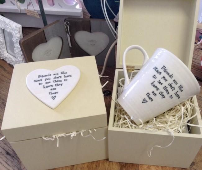 East of India Friends Are Like Stars... Porcelain Mug & Box Gift Set